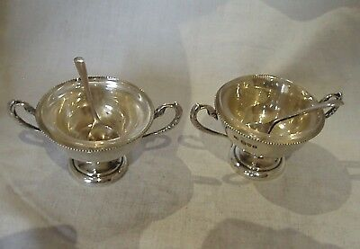 Pr Swan Handle Bowls & Spoons Sterling Silver Chester 1907