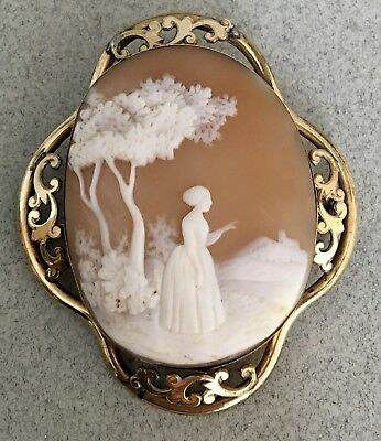 Large ANTIQUE VICTORIAN CARVED SHELL CAMEO BROOCH pin lady landscape vintage