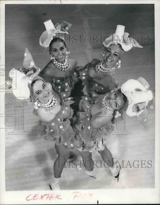 1968 Press Photo Four women ice skaters in costume for Holiday on Ice
