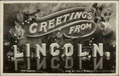 Lincoln NE Large Letters & Flowers Real Photo Postcard Greeting c1910