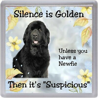 "Newfoundland Dog Coaster ""Silence is Golden Unless you ..."" by Starprint"