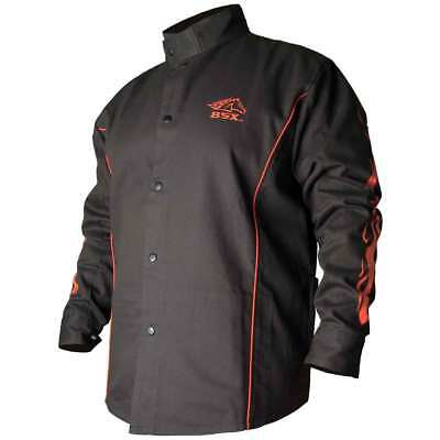 Black Stallion BX9C BSX Contoured FR Cotton Welding Jacket, Black/Flames, 2XL