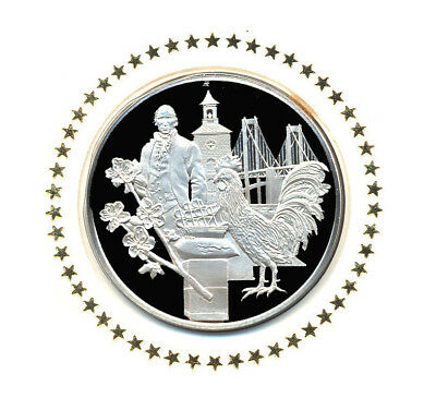 1976 State Of Delaware Franklin Mint Sterling Silver Bicentennial Medal w/FDC