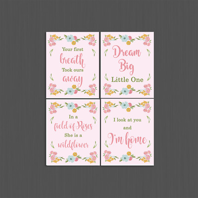 "Set of 4 Unframed ""Floral Fields Quotes""  8x10 inch Baby Nursery Art Prints"