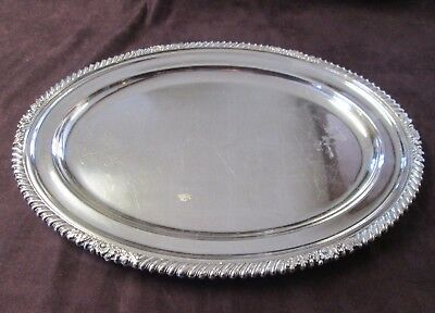 Antique ELLIS BARKER Silverplate Oval Tray England 1920s - 1930s No Monogram