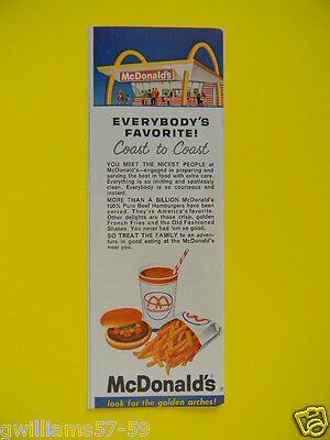 1963 EVERYBODY'S FAVORITE COAST TO COAST - McDONALD'S GOLDEN ARCHES - SALES AD