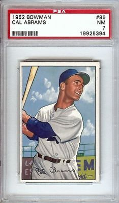 Cal Abrams 1952 Bowman Vintage Baseball Card Graded Psa Nm 7 Dodgers 86