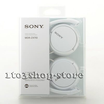 Sony MDRZX110 Wired Lightweight Foldable Headband On-Ear Stereo Headphones White