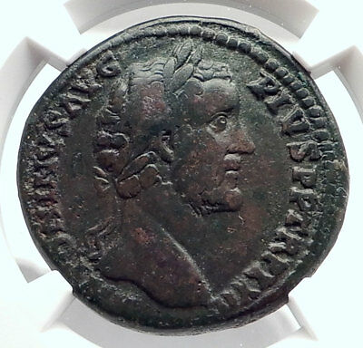 ANTONINUS PIUS Authentic Ancient 158AD Rome Sestertius Roman Coin NGC i72654