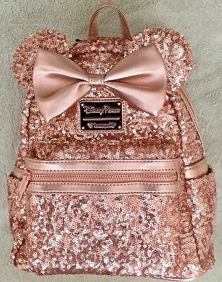 DISNEY Parks Loungefly Rose Gold Minnie Mini Backpack Bag Purse - NWT