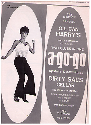 """1966 Oil Can Harry's/Dirty Sal's """"A-Go-Go"""" Vancouver, B.C. Vintage Print Advert."""