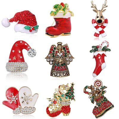 Women Crystal Christmas Hat Shoes Socks Brooch Pin Xmas Costume Jewelry Gifts