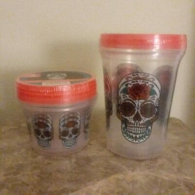 Day Of The Dead Sugar Skull Storage Food Containers NEW 5 pieces
