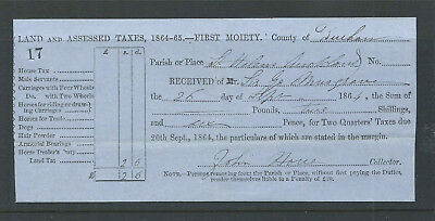 GB 1864 Receipt for Land Taxes Payable to County of Durham by Sir G Musgrave