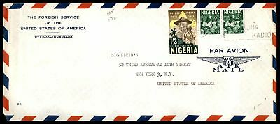 Pouch mail AMERICAN EMBASSY 1965 AIR MAIL AD COVER WITH PAIR TO NEW YORK USA