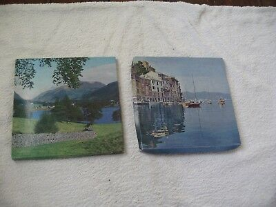 2 Brand New Boxed Vintage Ladies Handkerchief Sets Sea And Mountain Scenes
