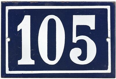 Old blue French house number 105 door gate plate plaque enamel steel metal sign