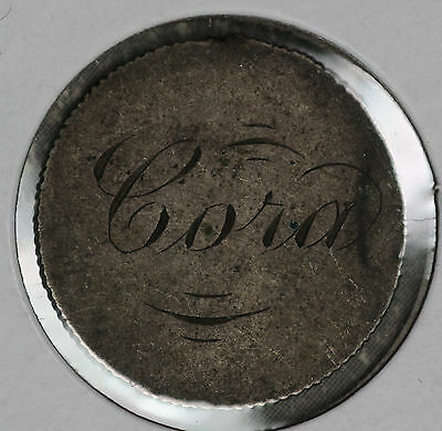 """Unusual Love Token - """"Cora"""" and """"Myrtle"""" on Silver Dime (?)"""