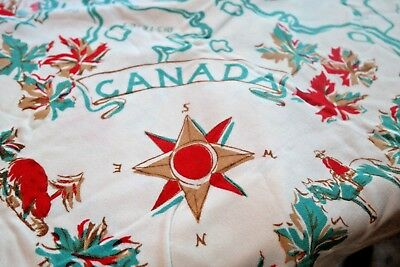 Vintage Tablecloth Canada Souvenir of Provinces EARLY