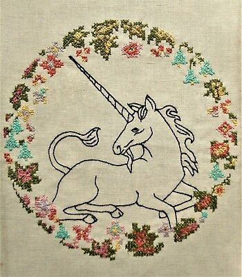 Vtg Unicorn Floral Embroidered Pillow Wall Art Finished Completed Cross Stitch