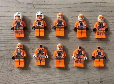 Lego Lot Of 10 Orange Incomplete Starwars Minifigures Rebels With Helmets Mixed