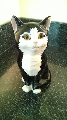 Vintage Ceramic Just Cats & Co Black & White Cat Sitting Figure 8 inches Tall