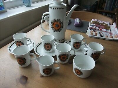 A Wonderful Part Coffee Set By J & G MeakIn In The Inca Pattern 12 Pieces 1970s
