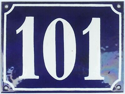 Old blue French house number 101 door gate plate plaque enamel steel metal sign