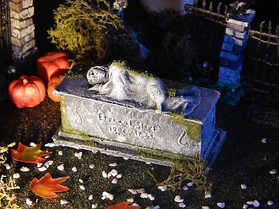 .Halloween TOMBSTONE, WOMAN SLEEPING on GRAVE Headstone graveyard, for Dept 56