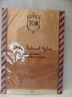 Vintage 1950's TOR seamed Sheer Nylon fully fashioned stockings size S 81/2 New