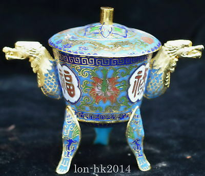 Chinese Culture Collectable Cloisonne Carve Flower Royal Dragon Ear's Wine Cup