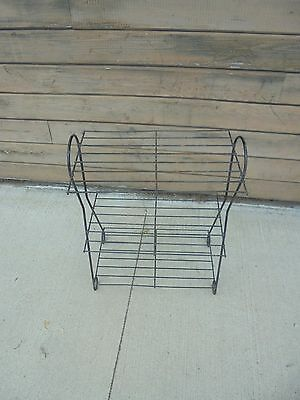 "vintage metal wire rack 3 tier retro plant stand 27-1/2"" tall black patio porch"