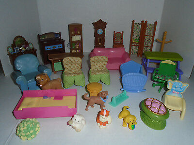 26 Pc Lot Fisher Price Loving Family Dollhouse Furniture and Pets