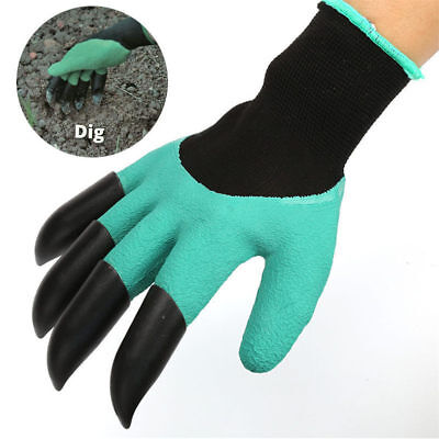1Pair Garden Gloves for Digging & Planting Latex +4 ABS Plastic Gardening Claws