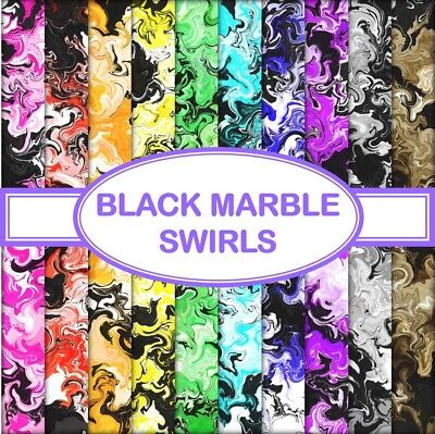 BLACK MARBLE SWIRLS SCRAPBOOK PAPER - 10 x A4 pages