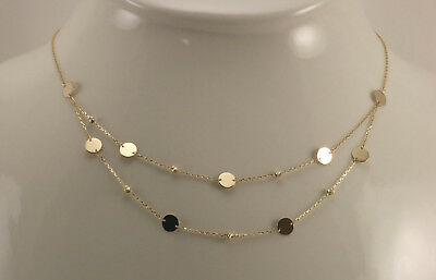 New 14K Yellow Gold Polished Disk Diamond Cut Gold Beads Layer Chain Necklace