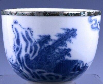 Very Fine Chinese Blue & White Scenic Poem Landscape Wine Cup Teacup Marked