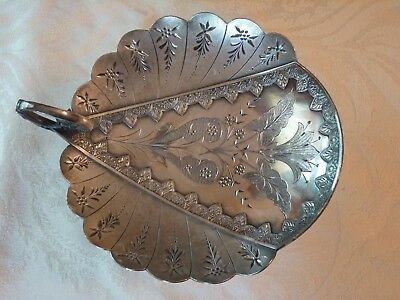 Antique Victorian Silverplate Calling Card Holder With Handle Fancy Decoratio