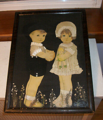 Folk Art Frame Children Print  - Boy and Girl Holding a Doll Applied Mixed Media