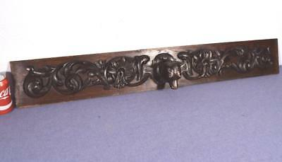 """41"""" French Antique Hand Carved Panel with Fox/Dog in Solid Oak Wood"""
