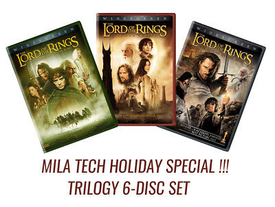 The Lord of the Rings: Motion Picture Trilogy (Widescreen, DVD, 6-Disc Set) NEW!