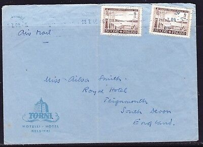 Finland 1949 Air Letter Torni Hotel Helsinki to South Devon