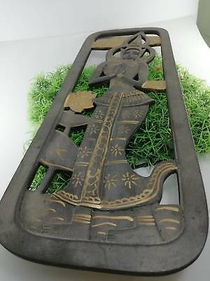 Thai Invaluable Culture Artist Wooden Frame Wall Hanging Sculpture Decoration