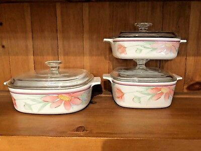 Set Of 3 Corning Ware Peach Pink Daisy Floral Casserole Dishes W/lids