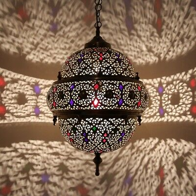 Oriental Moroccan Arabic Hanging Lamp Fantasia Made of Brass