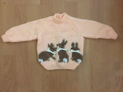 """Lovely NEW Peach Hand Knitted Baby Jumper Flopsy Bunnies 18"""" 0-6 months Gift"""