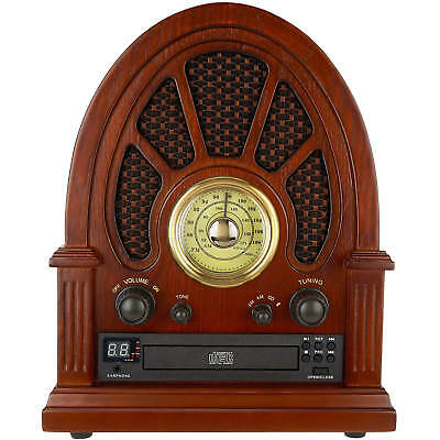 Innovative Technology ITVS-1350 Vintage Wooden Bluetooth Speaker Table CD Player