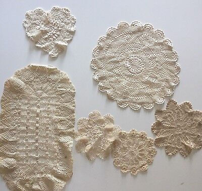 6 Vintage Ecru Doilies Round Oval Heart Hand Made Crocheted