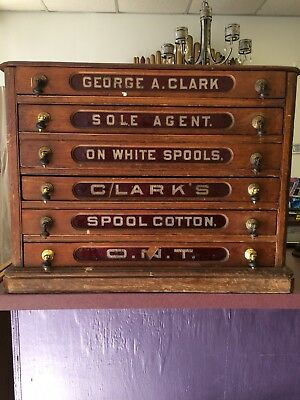 Antique Clark's Spool Cotton 6 Drawer Spool Cabinet