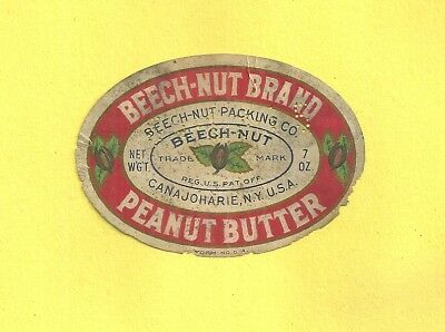 Vintage Advertising Label BEECH-NUT PEANUT BUTTER Canajoharie N. Y.